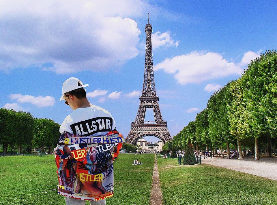 ストリートファッションとフランスパリエッフェル塔の写真